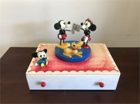 1960s Disney Wooden Jewelry Box - Mickey Mouse, Minnie Mouse, Pluto