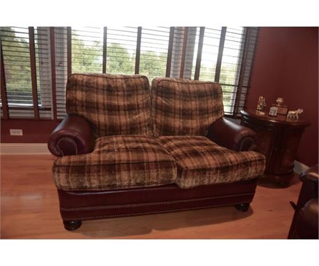leather and fabric love seat